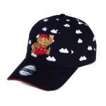 Nintendo Super Mario Bros. 8-Bit Clouds Snapback Baseball Cap, Black/Red (BA761746NTN)