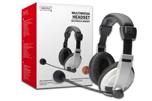 Digitus DA-12201 headset Binaural Head-band Black, White