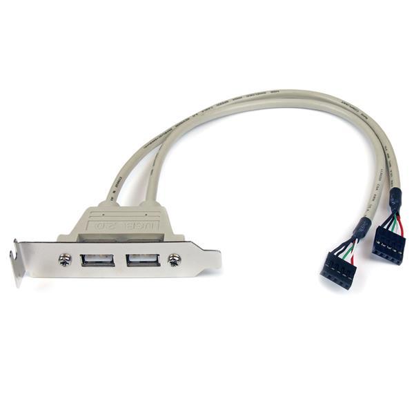StarTech.com Cabezal Bracket Perfil Bajo de 2 puertos USB 2.0 con conexión a Placa Base 2x IDC5 - Low Profile