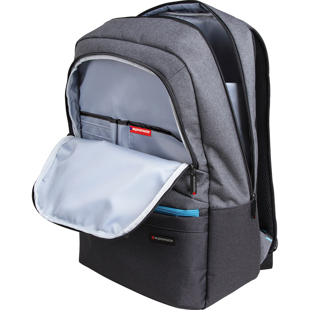 """Promate 'Ascend' Accented 15.6"""" Laptop Backpack w/Multiple Pockets - Grey"""