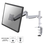 "Newstar Full Motion Desk Mount (clamp) for 10-30"" Monitor Screen, Height Adjustable (gas spring) - Silver"