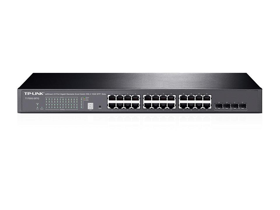 TP-LINK T1700G-28TQ Gestionado L2+ Gigabit Ethernet (10/100/1000) Negro