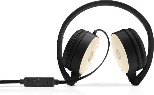 HP H2800 Head-band Binaural Wired Black, Gold mobile headset