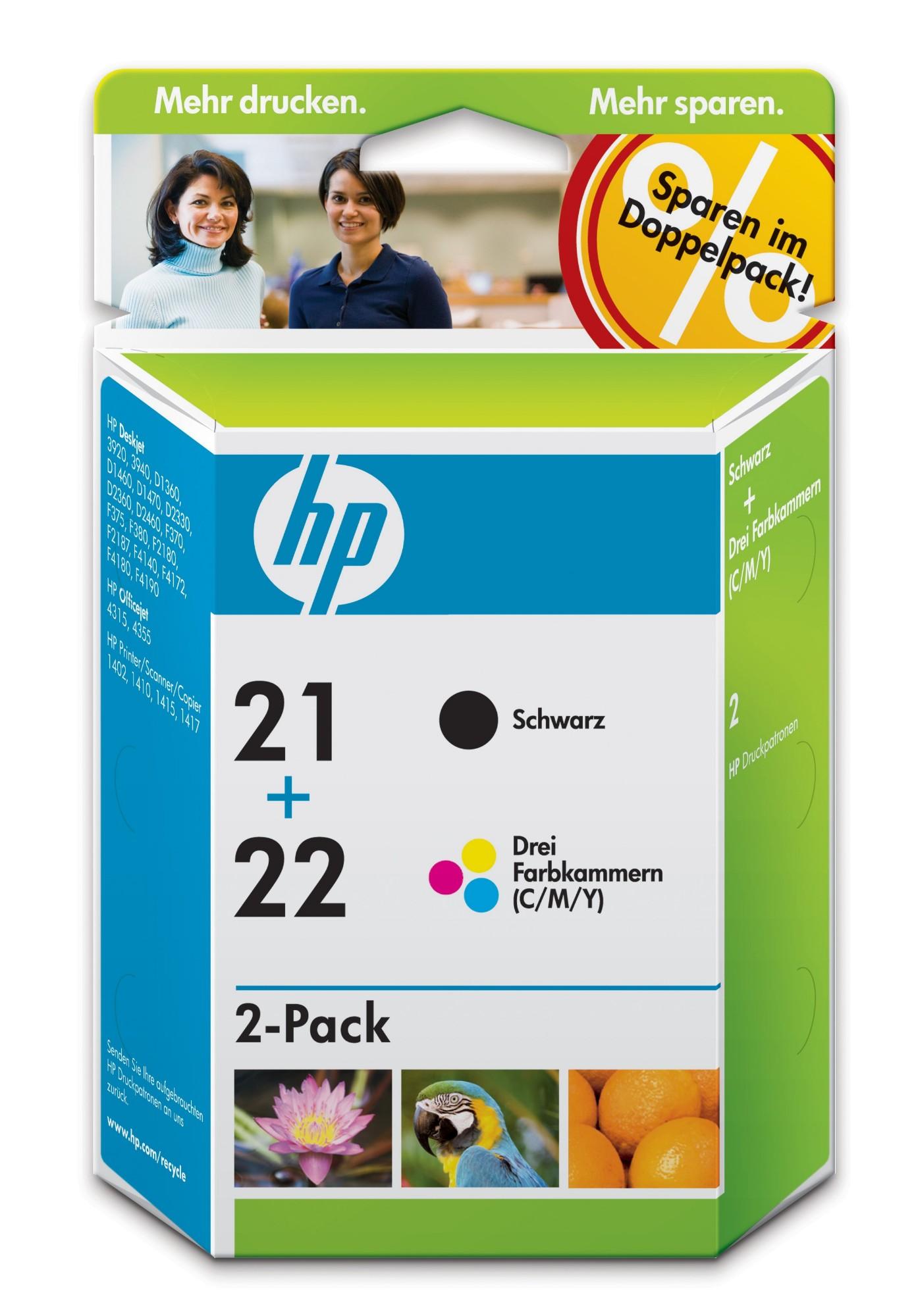 HP 21/22 Original Negro, Cian, Magenta, Amarillo 2 pieza(s)