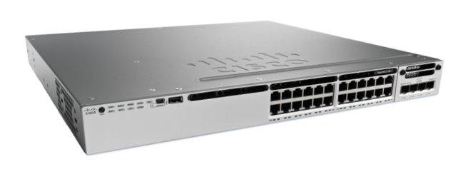 Cisco Catalyst WS-C3850-24T-E netwerk-switch Managed Zwart, Grijs