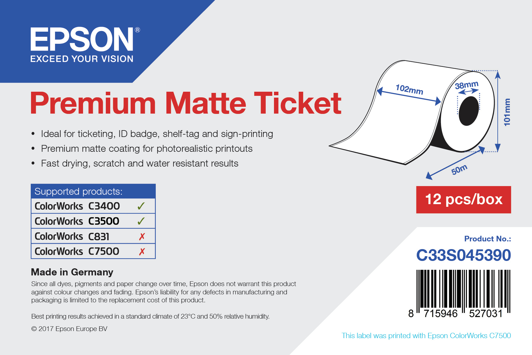 Epson Rollo de Premium Matte Ticket, 102 mm x 50 m