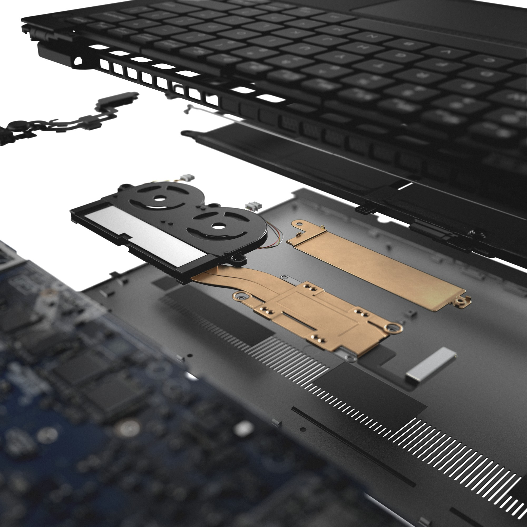 Image result for Cooler than ever: The XPS 13 is the first laptop built with GORE™ Thermal Insulation, which provides thermal conductivity levels lower than air in a thin, flexible format. While the Gore insulation directs heat out of the device, dual fans and heat pipes further lower the temperature of your XPS, enabling greater performance in a thinner form factor.
