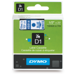 DYMO D1 Label Cassette, 12mm x 7m - Blue on White