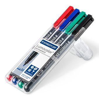 Staedtler Lumocolor 317 WP4 permanent marker Black, Blue, Green, Red 4 pc(s)