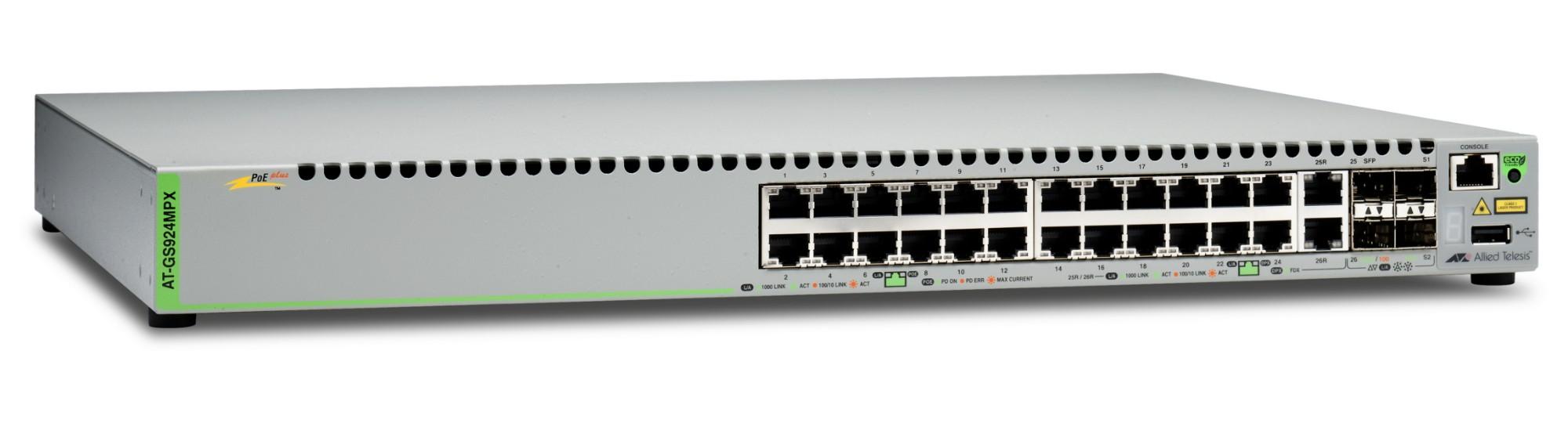 Allied Telesis AT-GS924MPX-50 Gestionado L2 Gigabit Ethernet (10/100/1000) Gris Energía sobre Ethernet (PoE)
