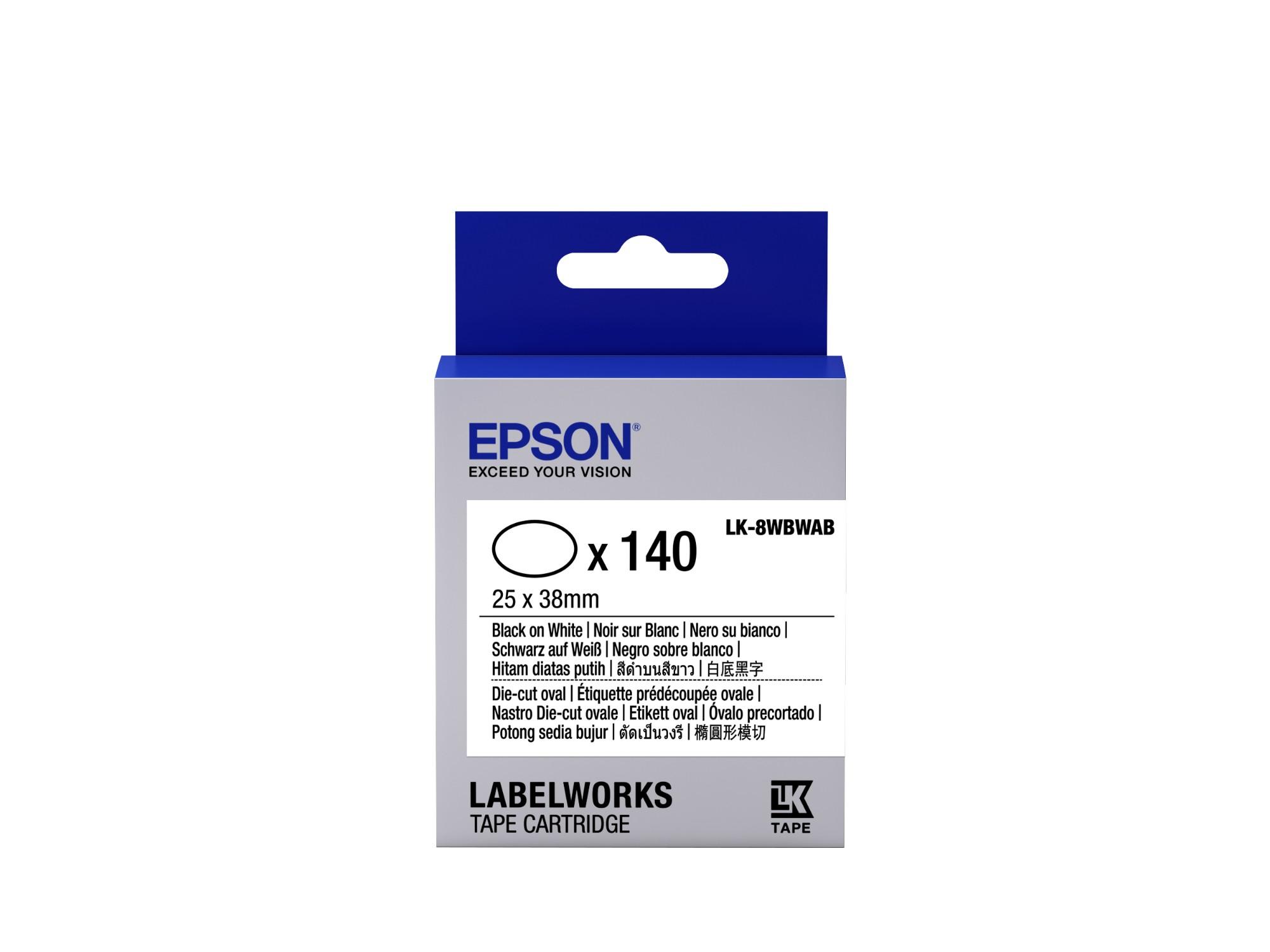 Epson -etikettencassette voorgesneden ovaal LK-8WBWAB, zwart/wit 25 x 38 mm (140 etiketten)