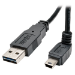 Tripp Lite Universal Reversible USB 2.0 Converter Adapter Cable (Reversible A to Down-angle 5Pin Mini B M/M), 3-ft.