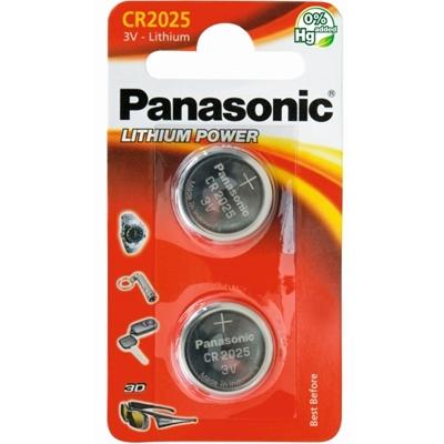 Panasonic Lithium Pack of 2 Coin Cell CR2025 Batteries