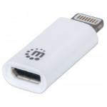 Manhattan 390620 Lightning Micro-USB B White cable interface/gender adapter