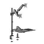 Brateck Pole Held Floating Sit-Stand Desk Converter with Dual Monitor Mount, for Most 17'-32', Up to 8kg/Scr