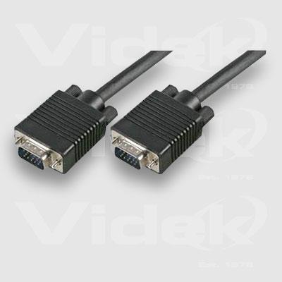 Videk SVGA M to M Black Coax Monitor Cable 15m coaxial cable SVGA Male SVGA Monitor Cable