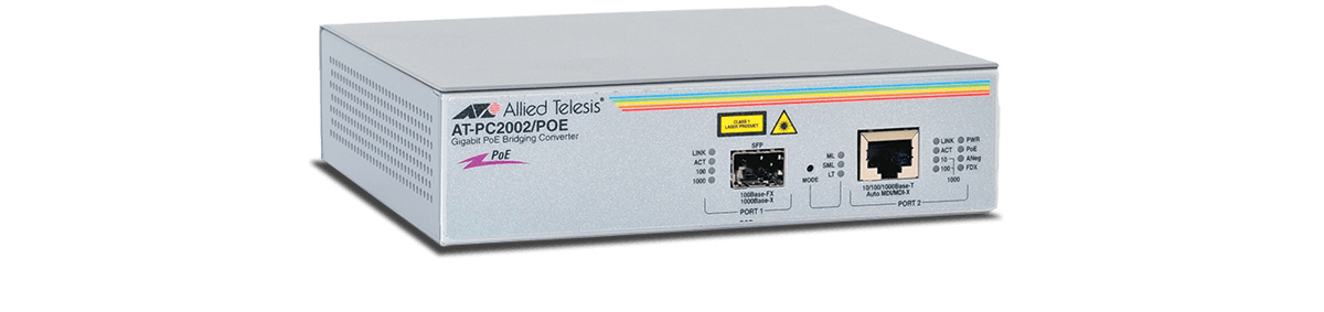 Allied Telesis PC2002POE 1000Mbit/s 1310nm Multi-mode Grey network media converter