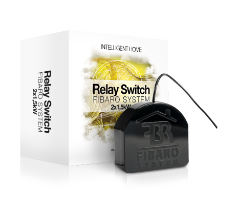 Fibaro FGS-222 Z-Wave, 2x 1.5 kW, Ø ≥ 50mm, 6.5A, 1mW, 0.8 W, 50m rangea Black electrical relay