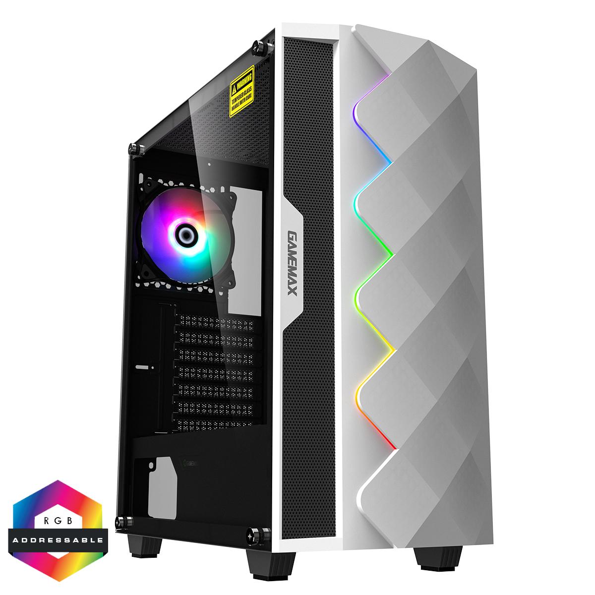 GAMEMAX Diamond White ARGB Gaming Case 1 x ARGB Fan 1 x ARGB LED Strip