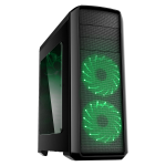 GameMax Volcano Gaming PC Case Green LED Front Fans