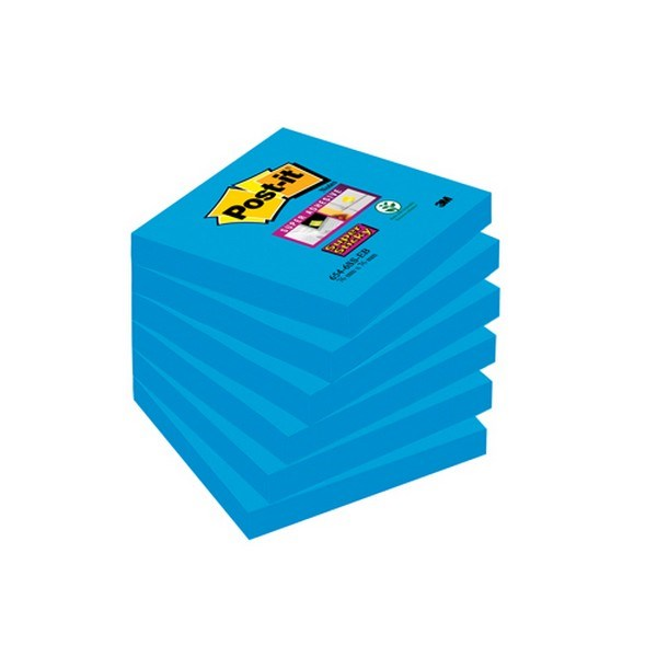 Post-It Super Sticky Notes 76x76mm Med Blue 654-6SS-EB PK6