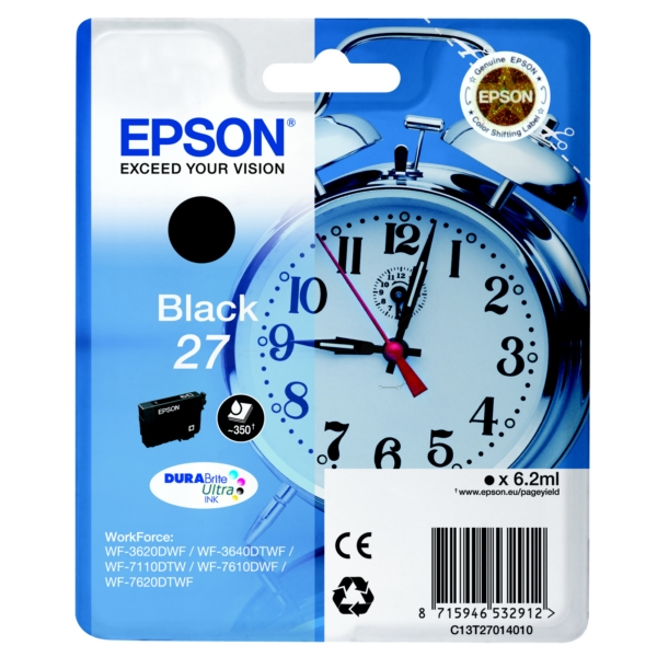 Epson C13T27014012 (27) Ink cartridge black, 350 pages, 6ml