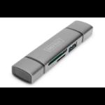 Digitus DA-70886 geheugenkaartlezer Aluminium USB 3.2 Gen 1 (3.1 Gen 1) Type-A/Type-C
