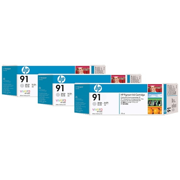 HP C9482A (91) Ink cartridge gray, 775ml, Pack qty 3