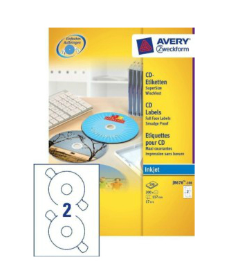 Avery J8676-100 storage media label CD/DVD Self-adhesive label 200 pc(s)