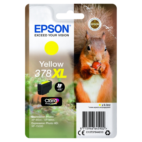 Epson C13T37944010 (378XL) Ink cartridge yellow, 830 pages, 9ml