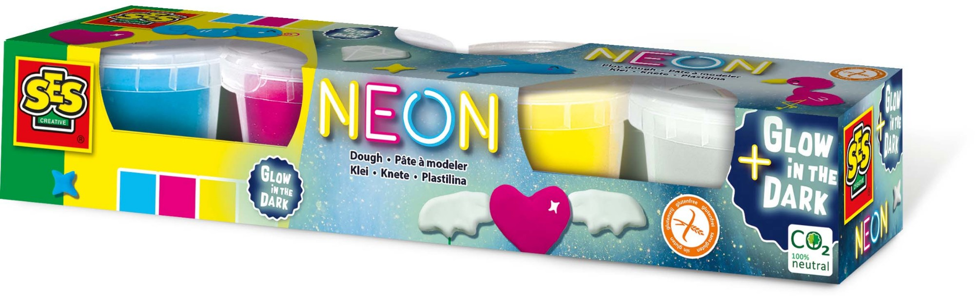 SES Creative Dough - Neon and Glow in the dark 4x90gr