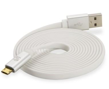 Scosche flatOUT LED micro 1.8m USB A Micro-USB B Male Male White USB cable