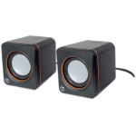 Manhattan 2600 Series Speaker System, Small Size, Big Sound, Two Speakers, Stereo, USB power, Output: 2x 3W, 3.5mm plug for sound, In-Line volume control, Cable 0.9m, Black