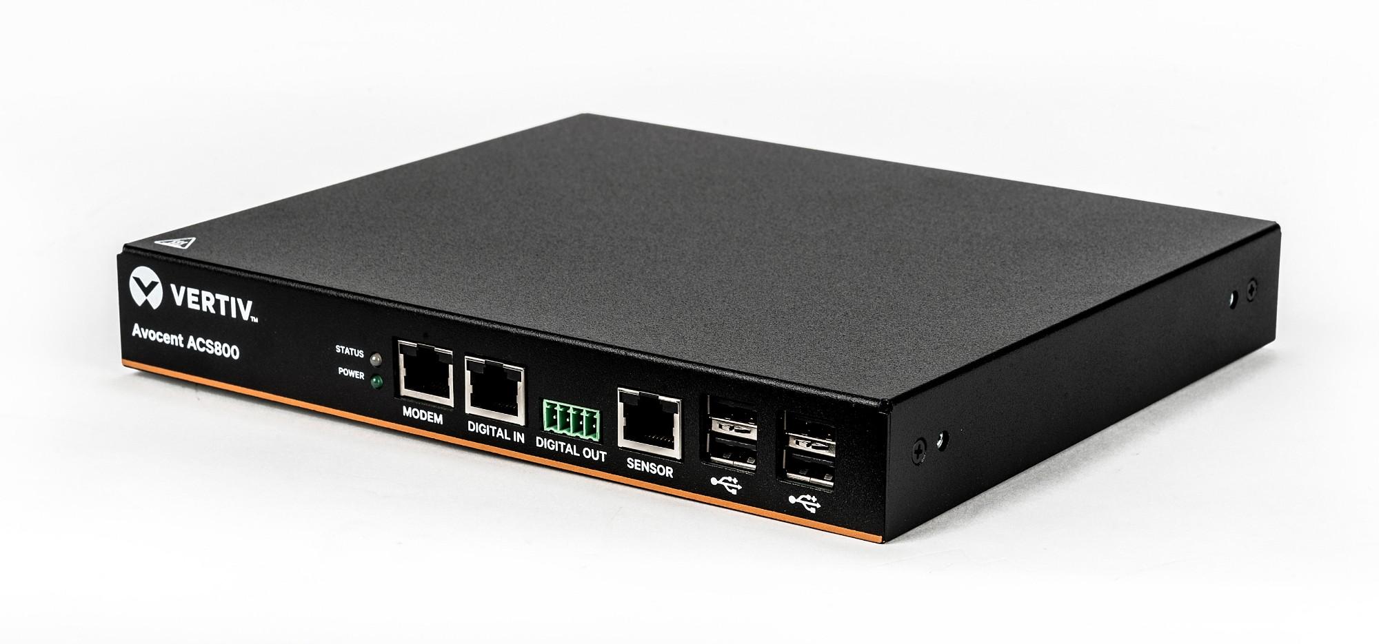 Vertiv Avocent 4-Port ACS800 Serial Console with analog modem, external AC/DC Power Brick - UK power