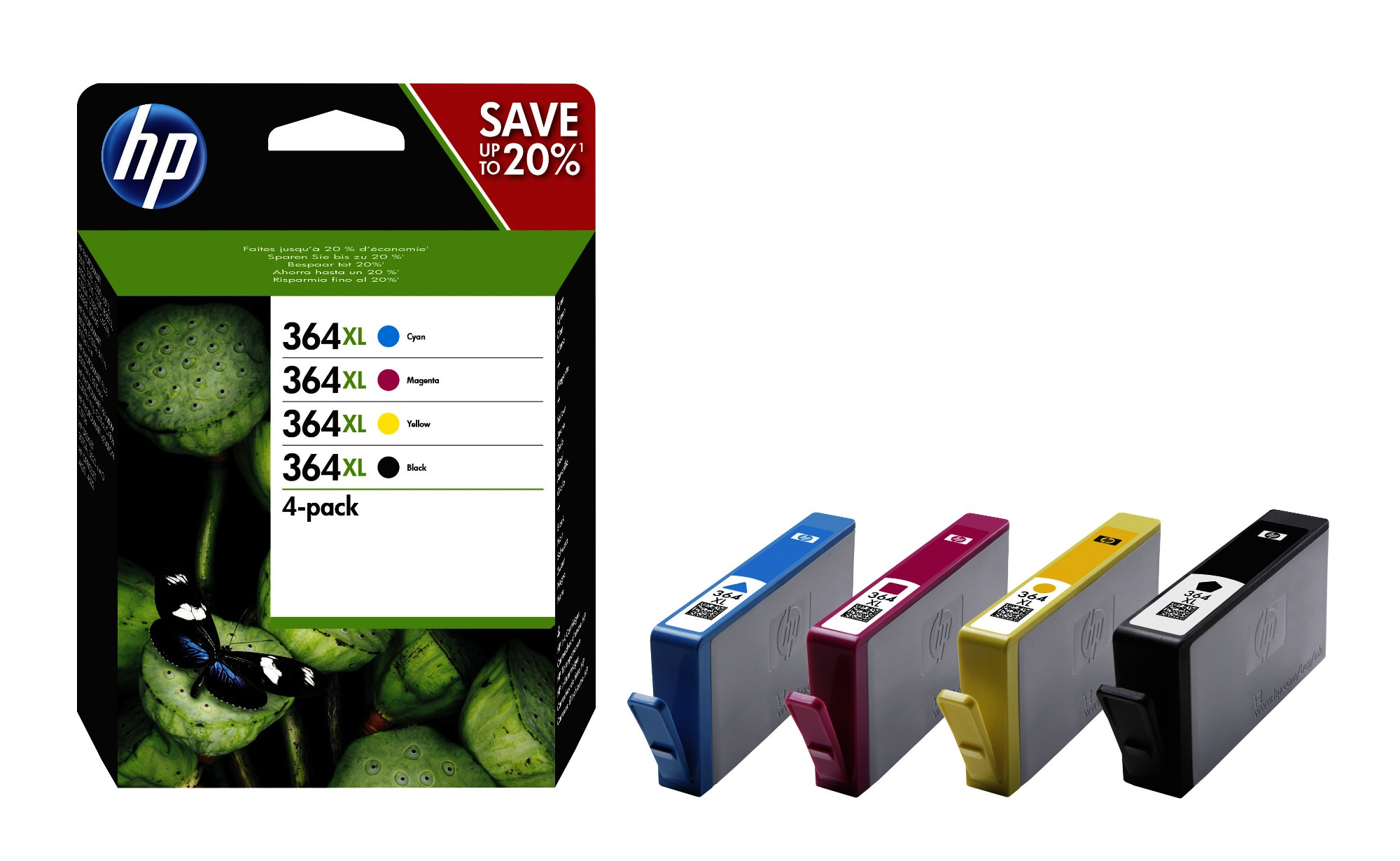 HP 364XL 4-pack High Yield Black/Cyan/Magenta/Yellow Original Ink Cartridges Negro, Cian, Magenta, Amarillo