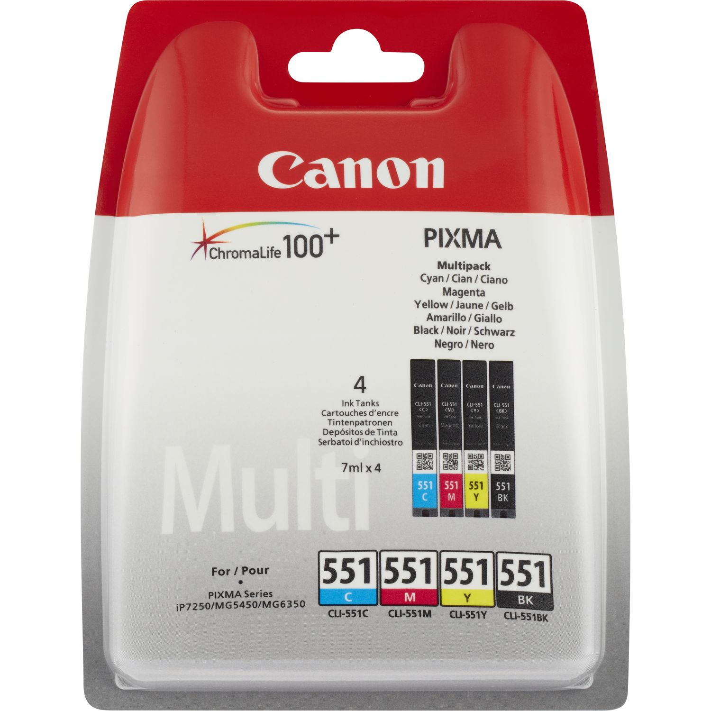 Canon CLI-551 C/M/Y/BK w/o sec Original Negro, Cian, Magenta, Amarillo Multipack 4 pieza(s)