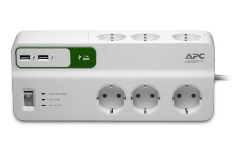 APC PM6U-GR surge protector White 6 AC outlet(s) 230 V 2 m