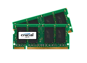 Memory 4GB Kit (2gbx2) 200-pin SoDIMM DDR2 800MHz Pc2-6400 (CT2KIT25664AC800)