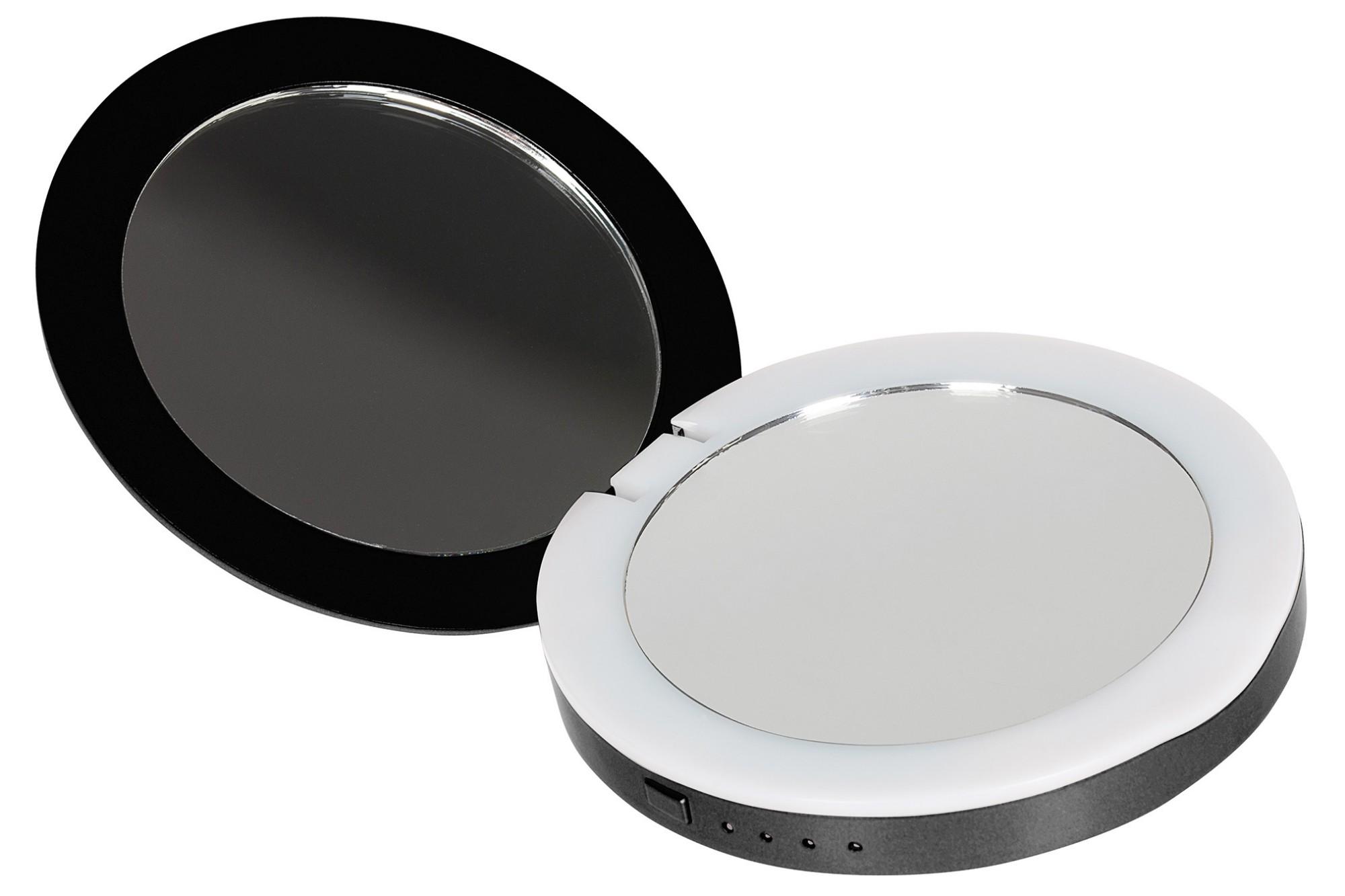 STATUS Compact Mirror 3000mAh Portable Power Bank with LED Illumination - Black