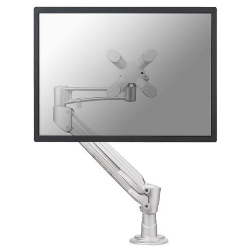 "Newstar Full Motion Desk Mount (grommet) for 10-30"" Monitor Screen, Height Adjustable (gas spring) - Silver"