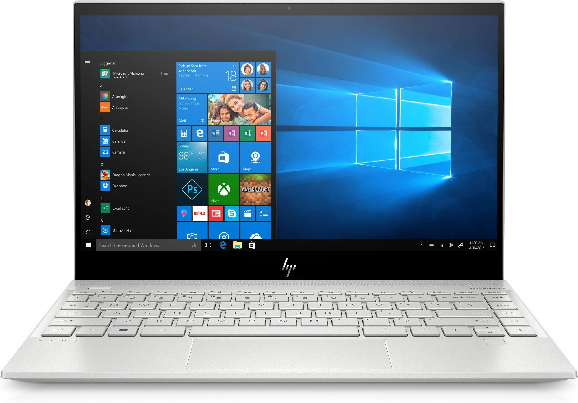 "HP ENVY 13-aq0011na Silver Notebook 33.8 cm (13.3"") 1920 x 1080 pixels 8th gen Intel® Core™ i7 8 GB DDR4-SDRAM 1000 GB SSD Wi-Fi 5 (802.11ac) Windows 10 Home"