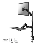 """Newstar Desk Mount (clamp & grommet) for a Monitor (10-27"""" screen) AND Keyboard & Mouse (Height Adjustable) - Black"""