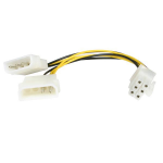 StarTech.com 6in LP4 to 6 Pin PCI Express Video Card Power Cable Adapter LP4PCIEXADAP