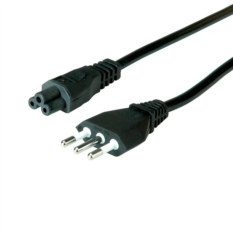 Power Cable Type L (IT) 3-pin to C5. Black. 1.8m