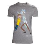 RICK AND MORTY Men's Crazy Eyes Distressed T-Shirt, Medium, Grey (TS130524RMT-M)