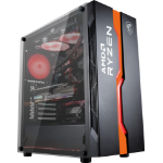 MSI MAG VAMPIRIC 011C Mid Tower Gaming Computer Case 'Black AMD RYZEN Edition, 1x 120mm RGB Fan, RGB Front Panel, Tempered Glass Panel, ATX, mATX, mini-ITX' 306-7G08C11-809