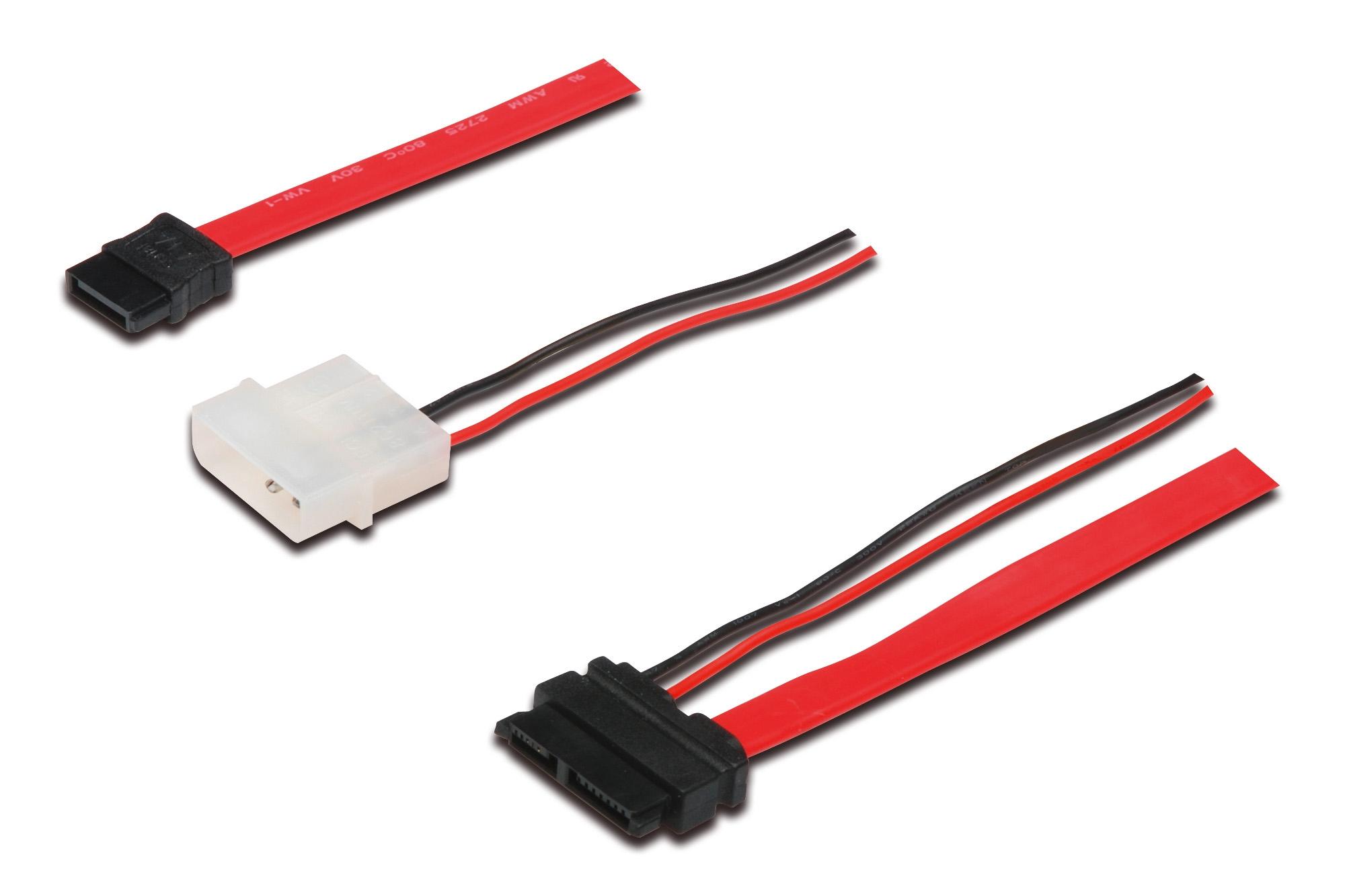 ASSMANN Electronic AK-400114-005-R SATA-kabel 0,5 m SATA 13-pin SATA 22-pin + Molex (4-pin) Zwart, Rood, Wit