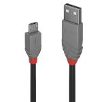Lindy Anthra Line USB cable 0.5 m USB 2.0 USB A Micro-USB B Black, Grey 36731