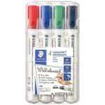 STAEDTLER 351 Whiteboard Markers Bullet Tip Assorted 4 Pack