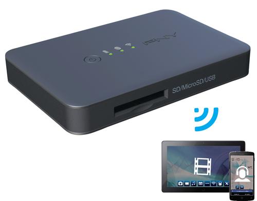 PNY Wireless Media Reader Wi-Fi Black card reader
